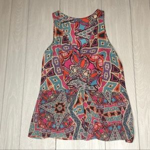 LEIFNOTES Anthropologie Silk Print Knot-Front Tank